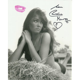 CAROLINE MUNRO SIGNED SEXY 10X8 PHOTO ALSO KISSES WITH RED LIPSTICK (1)