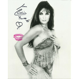 CAROLINE MUNRO SIGNED SEXY 10X8 PHOTO ALSO KISSES WITH RED LIPSTICK (2)