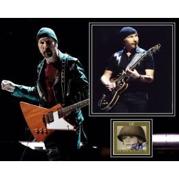 THE EDGE SIGNED U2 PHOTO MOUNT UACC REG 242