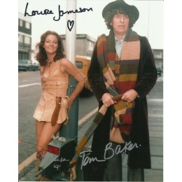 TOM BAKER , LOUISE JAMESON AND JOHN LEESON SIGNED DOCTOR WHO 8X10 PHOTO (2)