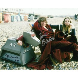 TOM BAKER AND JOHN LEESON SIGNED DOCTOR WHO 8X10 PHOTO (2)