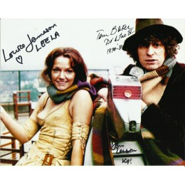 TOM BAKER , LOUISE JAMESON AND JOHN LEESON SIGNED DOCTOR WHO 8X10 PHOTO (1)