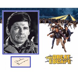 CHARLES BRONSON SIGNED THE GREAT ESCAPE PHOTO MOUNT