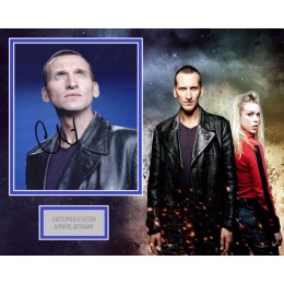 CHRISTOPHER ECCLESTON SIGNED DOCTOR WHO PHOTO MOUNT  (2)