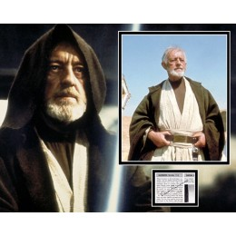 ALEC GUINNESS SIGNED STAR WARS PHOTO MOUNT